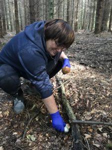 """Uczestnicy """"SZANSY"""" chętnie spędzają czas na świeżym powietrzu. Wybrali się także do lasu na grzybobranie."""
