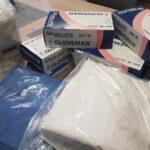 rękawiczki bluzy i dozowniki otrzymane w ramach wsparcia